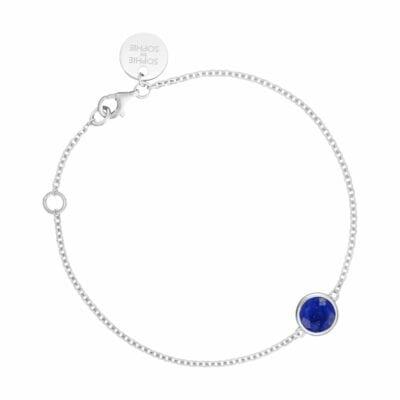 Sophie by Sophie – Birthstone armband September, silver/lapiz lazuli