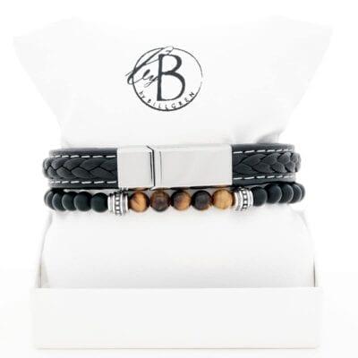 By Billgren – Armbandsset svart läder/tigeröga