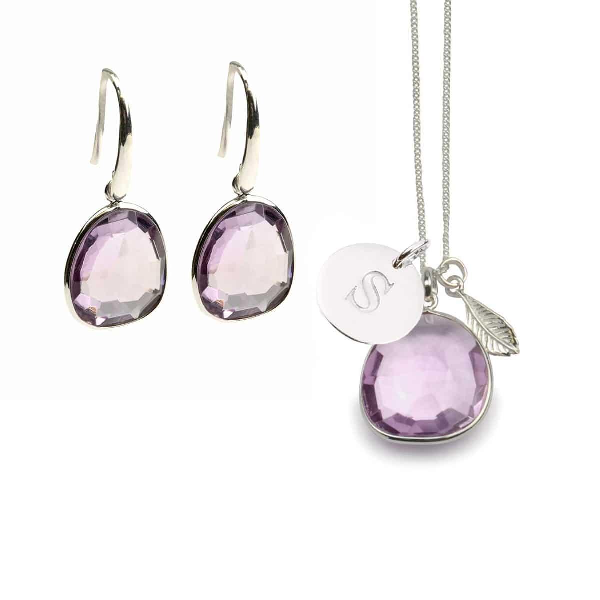 Glam-glam-bokstav-silver,-pink-amethyst