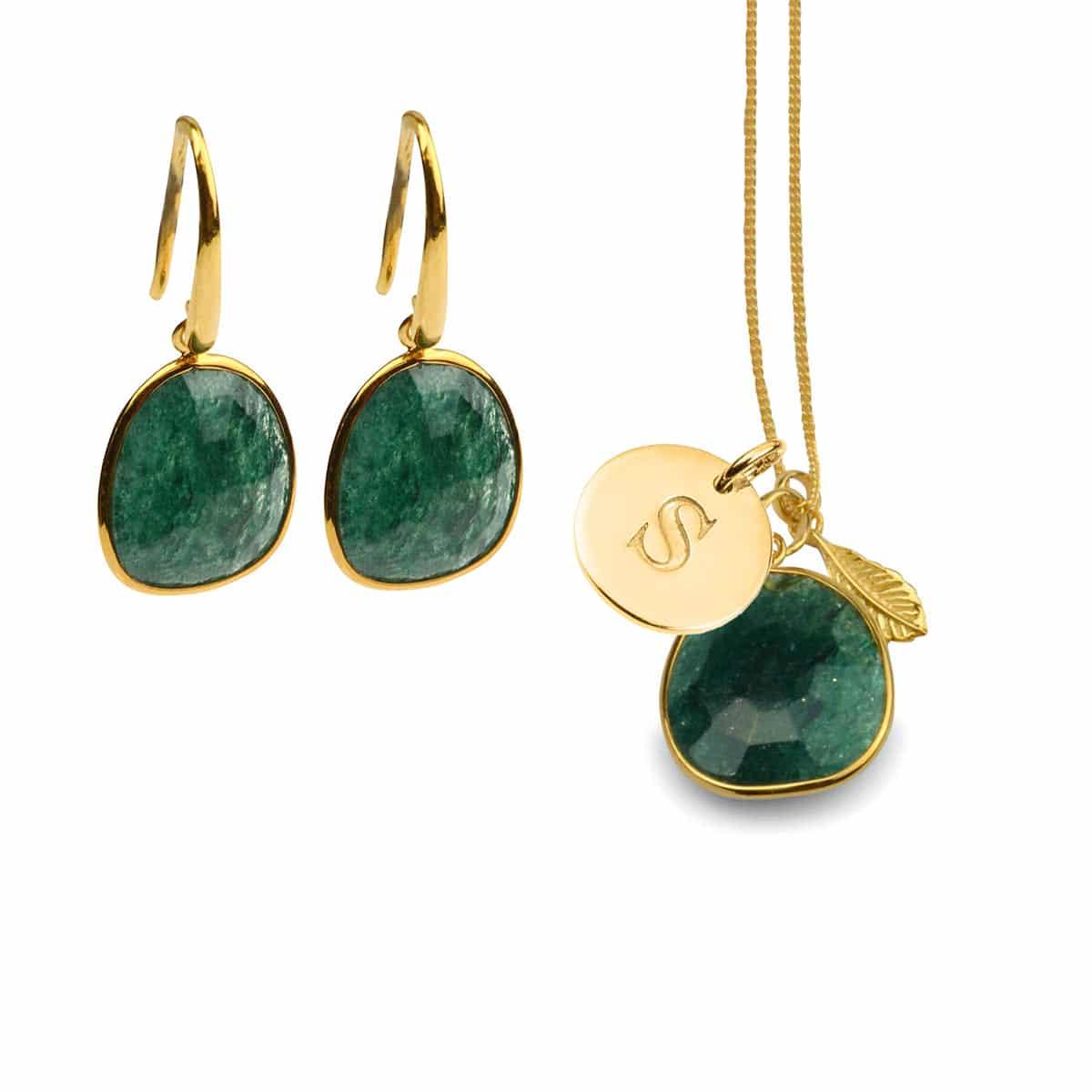 Glam-glam-necklace-set,-green-aventurine