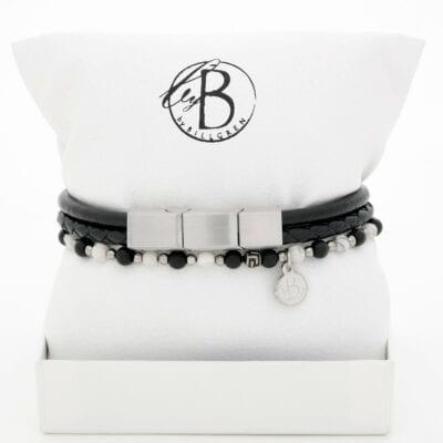 By Billgren – Armbandsset, svart läder och svartvita stenar