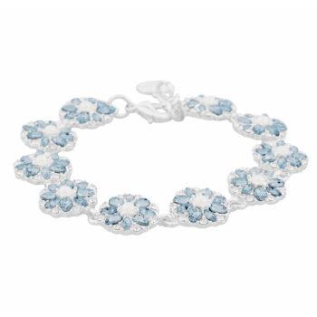 Snö of Sweden –Blossom armband, silver/ljusblå