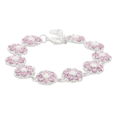 Snö of Sweden – Blossom armband, silver/rosa