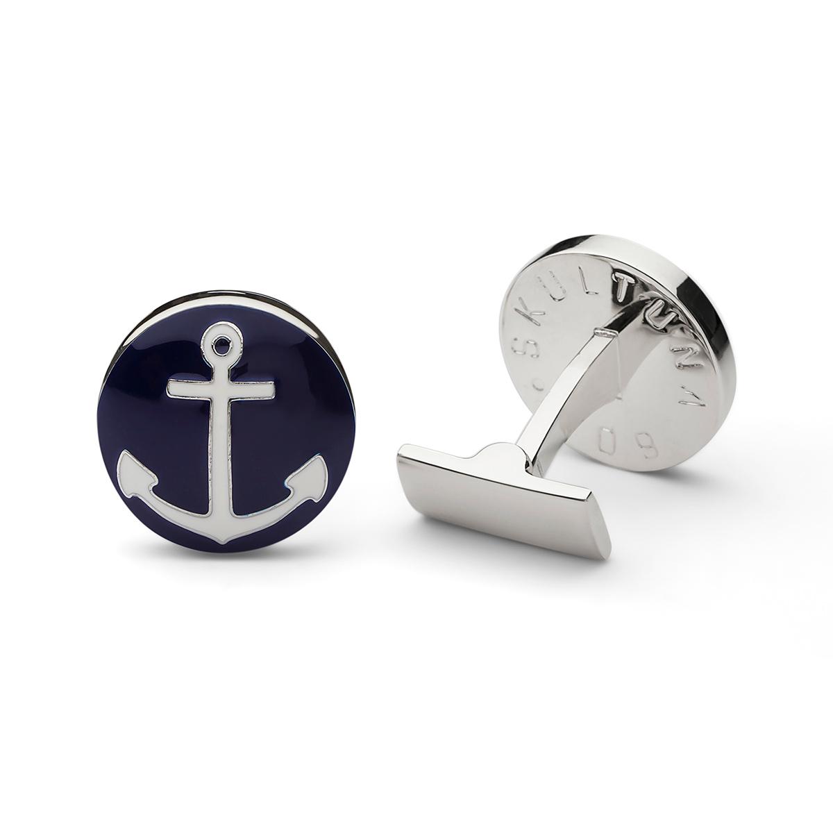 Skultuna – Manschettknappar, The Anchor, marinblå/silver