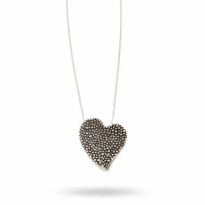 Bella Bueno – Heart Oxi halsband, oxiderat silver