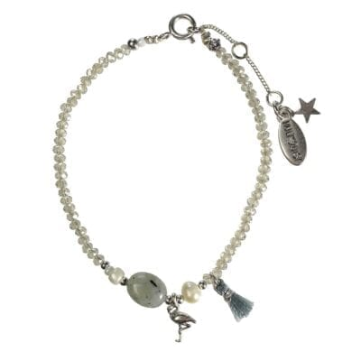 Hultquist – Tropical Paradise armband, flamingo/silver