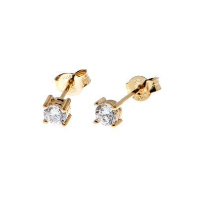 CU Jewellery – Two square stone örhängen, guld