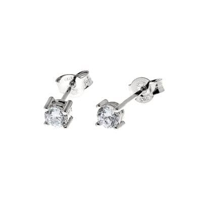 CU Jewellery – Two square stone örhängen, Silver
