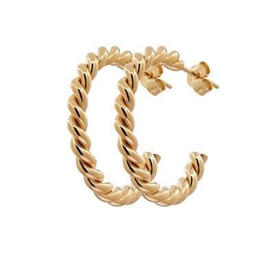 CU Jewellery – Two twinned hoop örhängen, guld