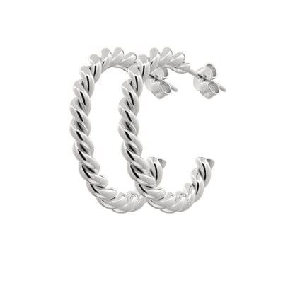 CU Jewellery – Two twinned Hoop örhängen, Silver