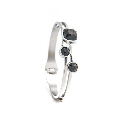 By Jolima – Belle armband, silver/svart