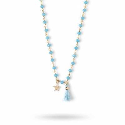 Orelia – Beaded Star & Tassel halsband, blått