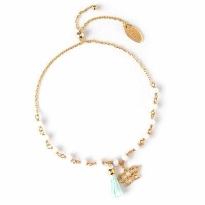 Orelia – Beaded Lotus & Tassel armband, vitt