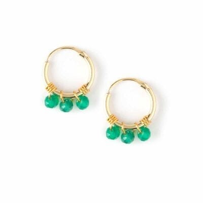 Orelia – Micro Beaded Hoops örhängen, gröna