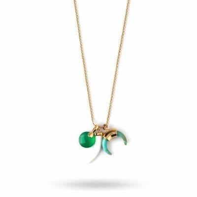 Orelia – Tusk & Crescent Charm halsband, grönt