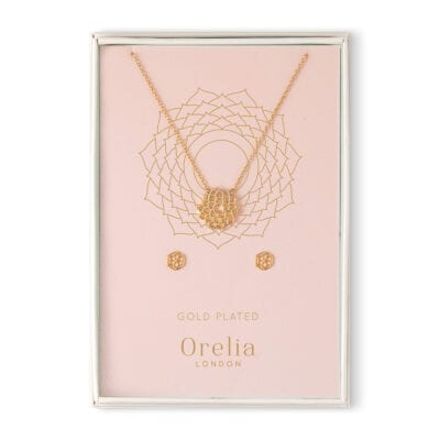 Orelia – Crown Chakra Halsband & Örhängen Set