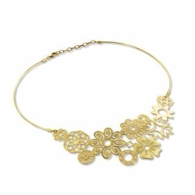 RAS – Cascada Floral halsband, guld