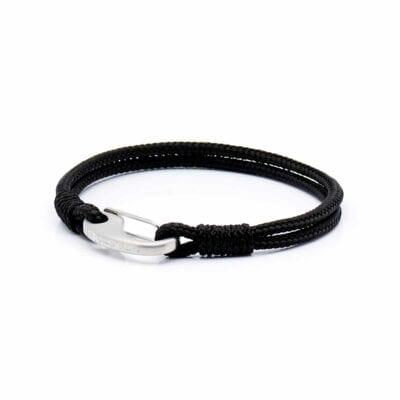 Lanyard Black/Black Brushed steel, armband