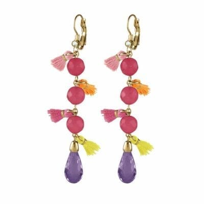 Samara örhängen, guld/rosa jade