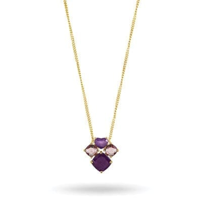 Dyrberg/Kern – Masika halsband, lila jade/guld