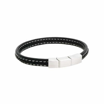 By Billgren – Flätat läderarmband, borstat stål/svart