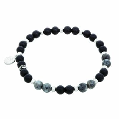By Billgren – Beadsarmband Onyx, svart/grått