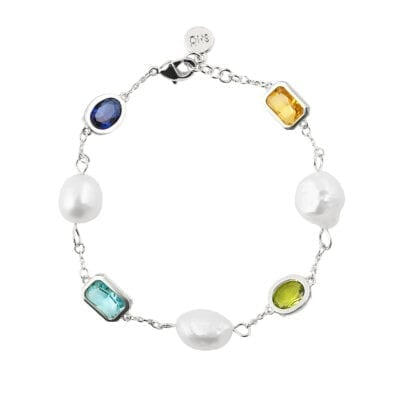 Snö of Sweden – Twice Pearl armband, multi/silver