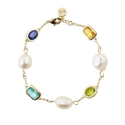 Snö of Sweden – Twice pearl armband, multi/guld