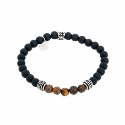 By Billgren – Beadsarmband, mattsvart/tigeröga