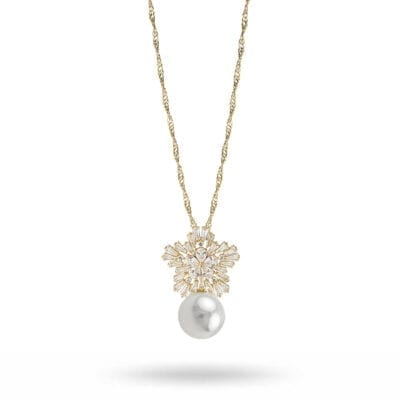 Snö of Sweden – Snö pearl pendant halsband, guld/kristall