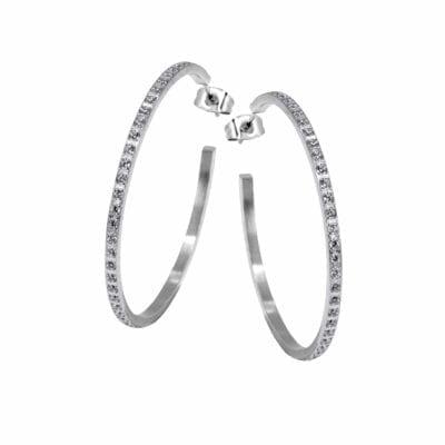 Ingnell Jewellery – Belinda stora creolörhängen, silver