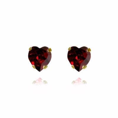 Caroline Svedbom – Valentina Heart örhängen ruby, guld