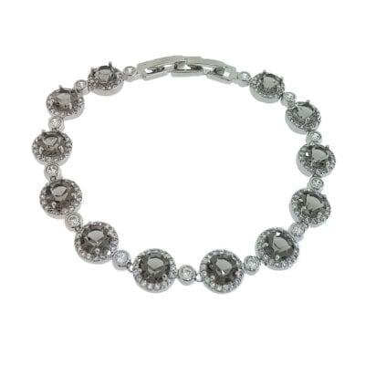 By Jolima – Sienna Multi crystal armband, grått
