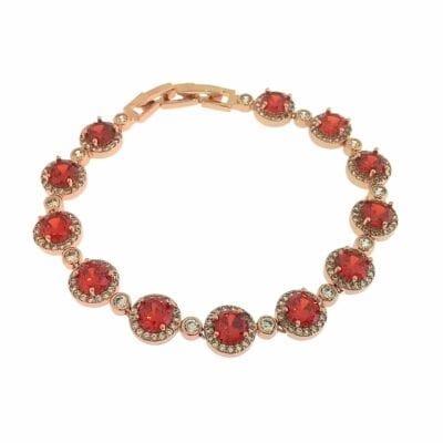 By Jolima – Sienna Multi crystal armband, rött
