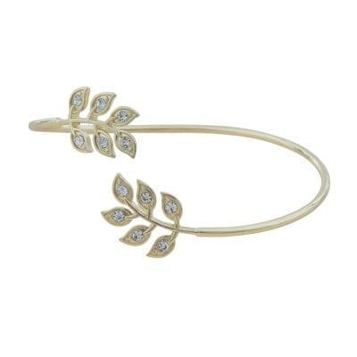 Snö of Sweden – Leaf oval armband, guld/kristall