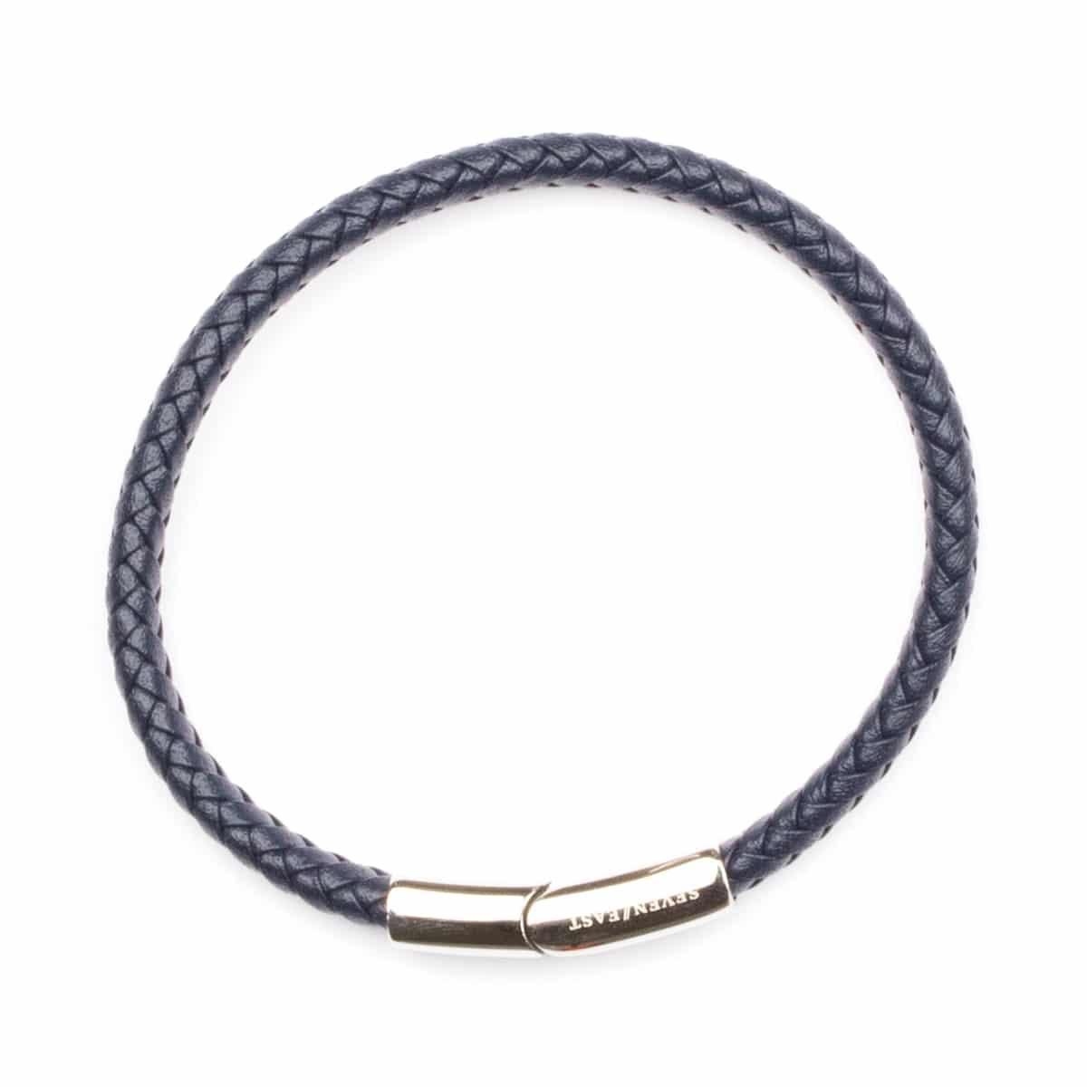 Seven/East – Losal läderarmband, marin