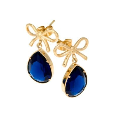 Ingnell Jewellery – Molly blue örhängen, guld