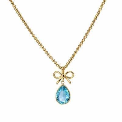 Ingnell Jewellery – Molly Aqua halsband, guld