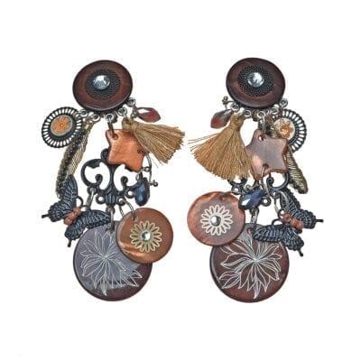 Smyckendahls – Arizona clips-örhängen, brun/svarta