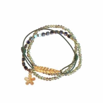 Rosenvinge – Boho armbands-set, grönt