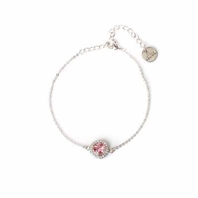 By Jolima – Sienna Single crystal armband, rosa