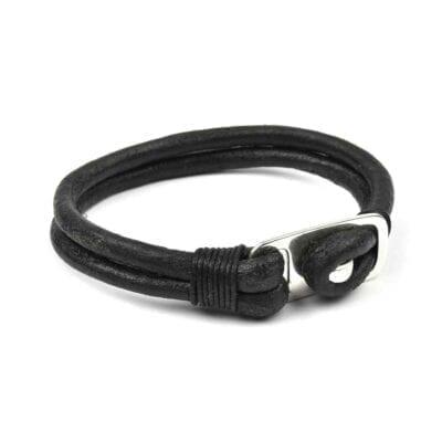 Syster P – Trevis läderarmband, svart