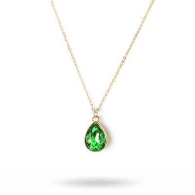 By Jolima – Glam drop halsband, guld/grönt