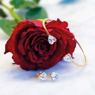 Caroline Svedbom – Valentina Heart armband kristall, guld