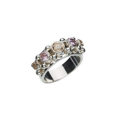Kumkum – Five Pink Champagne Ring, silver
