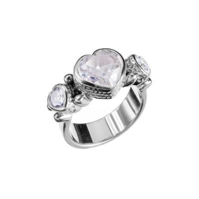 Kumkum – Tipsy Heart Zircon Ring, silver