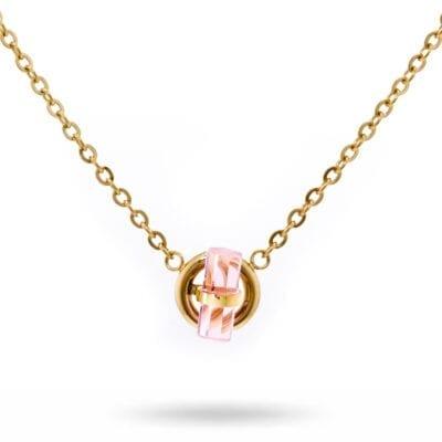 Ingnell Jewellery – Stina halsband, rosa/silver