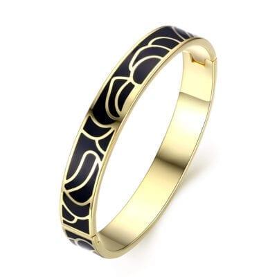 By Jolima – Flower enamel bangle armband, svart