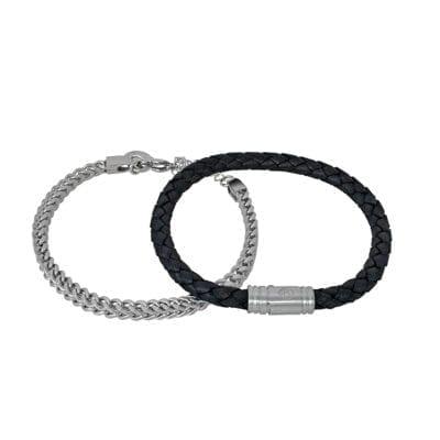By Billgren – Armbandsset läder/beads, mattsvart/brun