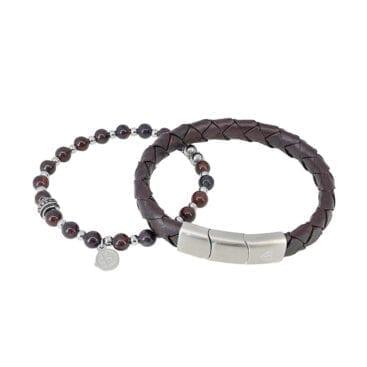 By Billgren – Armbandsset läder/beads, röd/brun